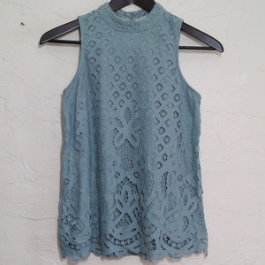 Lace Overlay Slate Blue Mock Neck Tank